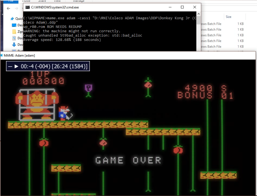 06933: adam: During Cassette Activity MAME Crashes With